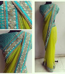 Buy Light Yellow embroidered Net saree With Blouse party-wear-saree online
