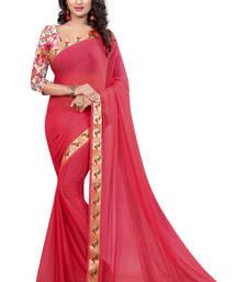 Buy light_red plain nazneen saree With Blouse ethnic-saree online