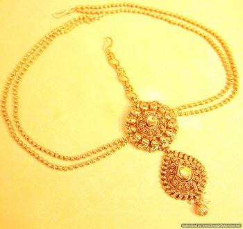 Gold Look Antique Polki Mathapatti