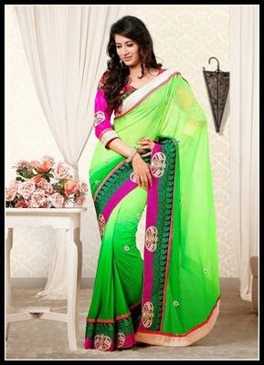 Butta Green Embroidered Saree