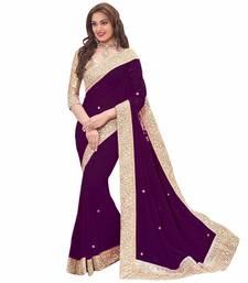 Buy purple plain georgette saree With Blouse party-wear-saree online