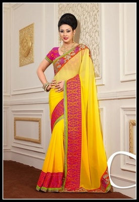 Charming Yellow Embroidered Saree