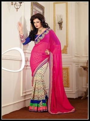 Contemporary Buttercream & Pink Embroidered Saree