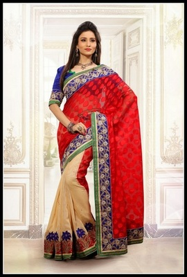 Unique Beige & Red Embroidered Saree