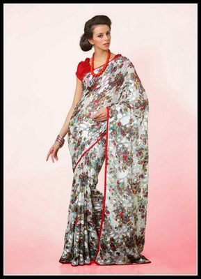 Charming Off White & Silver Embroidered Saree