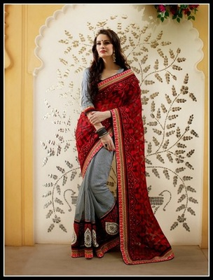 Plushy Ash Gray & Crimson Embroidered Saree
