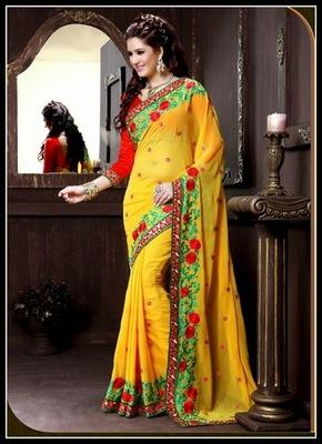 Vivacious Yellow Embroidered Saree