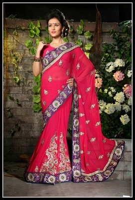 Melodic Fuchsia Embroidered Saree