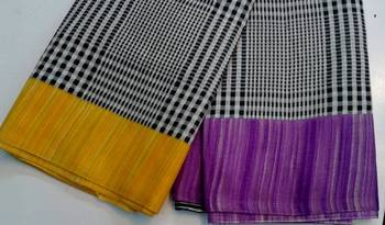 Black and white check saree with yellow and purple