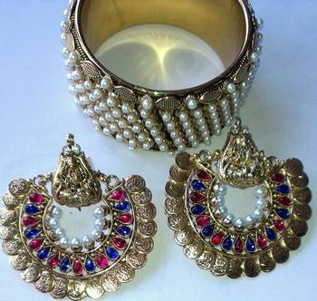 Designer Ram Leela Earings & Traditional Kada