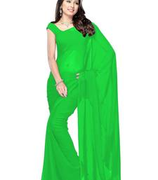 Buy green plain georgette saree With Blouse georgette-saree online