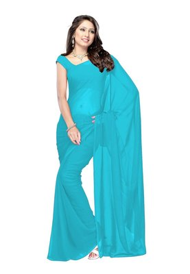 sky_blue plain georgette saree With Blouse