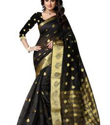 Buy Black woven cotton poly saree With Blouse cotton-saree online