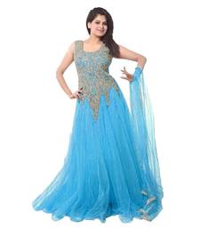 Buy Sky blue net embroidered semi stitched gown party-wear-gown online