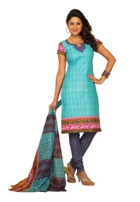 CottonBazaar Sky Blue Colored Cotton Printed Un-Stitched Salwar Kameez