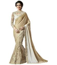 Buy golden embroidered georgette saree With Blouse heavy-work-saree online