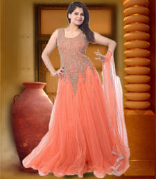 Buy Orange embroidered georgette semi stitched party-wear-gowns party-wear-gown online