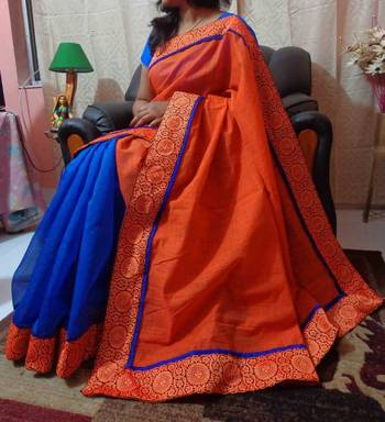 Orange N Blue Partly saree
