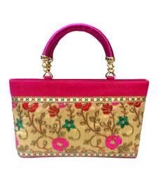 Buy Floral Glory Raw Silk Hand Bag (Pink) handbag online