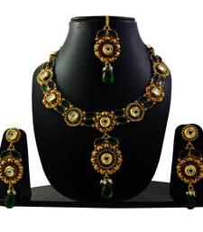 Buy Bridal gold plated necklace set with maang tikka bridal-set online