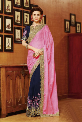 navy_blue 100% Original embroidered georgette saree With Blouse