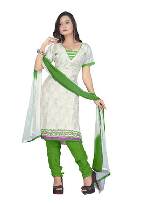 Fabdeal White Colored Chanderi Silk Embroidered Unstitched Salwar Kameez