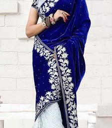Buy blue brasso velvet saree With Blouse velvet-saree online
