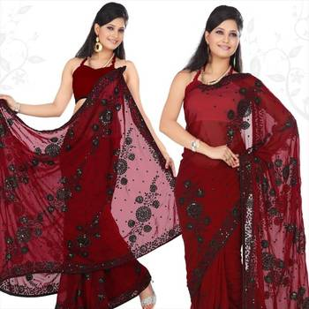 Maroon faux georgette saree with blouse (sn422)