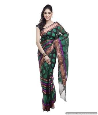 Banarasi Handloom Leheriya Kora Silk Saree