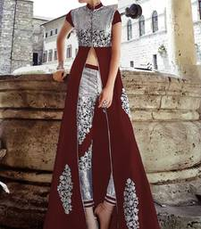 Buy Maroon and silver banglori silk embroidered semi stitched salwar with dupatta mehendi-ceremony-dress online