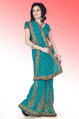 Teal green faux georgette saree with blouse (anm498)