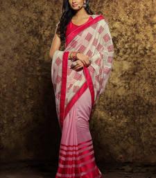 Buy cream printed viscose saree With Blouse viscose-saree online