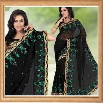 Atrous black faux georgette saree with blouse (331)