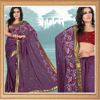 Purple faux georgette saree with blouse (336)