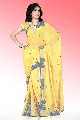 Yellow faux georgette saree with blouse (anm521)