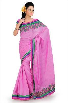 Pink bhagalpuri silk saree with blouse (and796)
