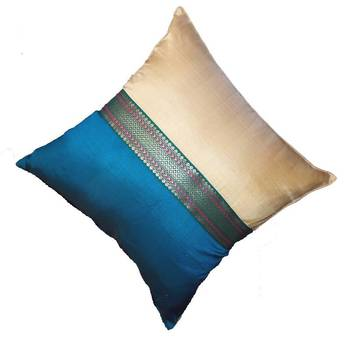 Mulberry Silk Cushions with applique patterns - Peacock Blue & Beige