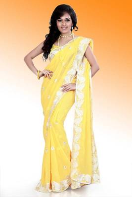 Yellow faux georgette saree with unstitched blouse (ask552)