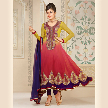 Embroidered Mustard and Dark Pink Anarkali Suit