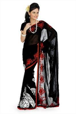 Black faux georgette saree with blouse (aps699)