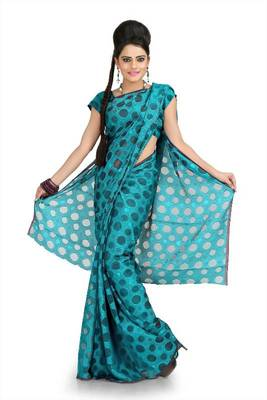 Light teal net jacquard saree with unstitched blouse (msk1073)