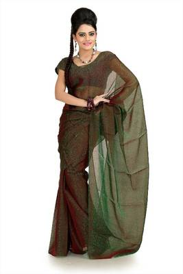 Green and maroon tissue jacquard saree with unstitched blouse (msk1085)