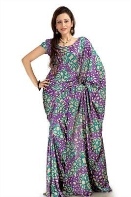 Purple, teal and cream khadi silk saree with blouse (mhn1088)