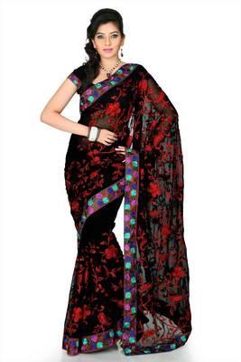 Black chiffon saree with unstitched blouse (myr1244)