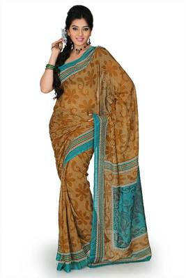 Brown Cotton saree with unstitched blouse (mhk1253)
