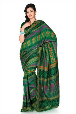Deep green bhagalpuri silk saree with unstitched blouse (mhk1258)