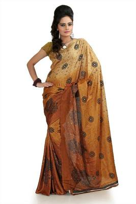 Shaded mustard and beige khadi silk saree with unstitched blouse (flk1000)