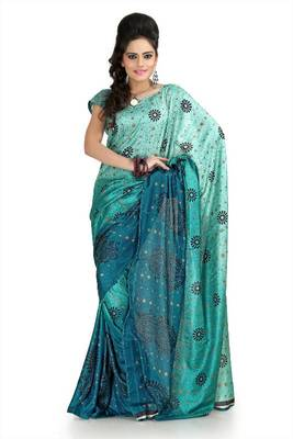 Teal blue and turquoise khadi silk saree with unstitched blouse (flk1002)