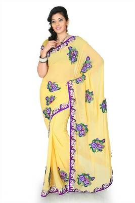 Yellow faux georgette saree with unstitched blouse (cnc1178)