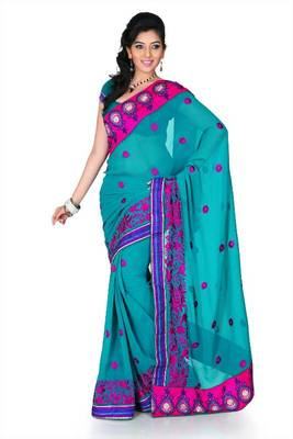 Teal green chiffon saree with unstitched blouse (cnc1186)